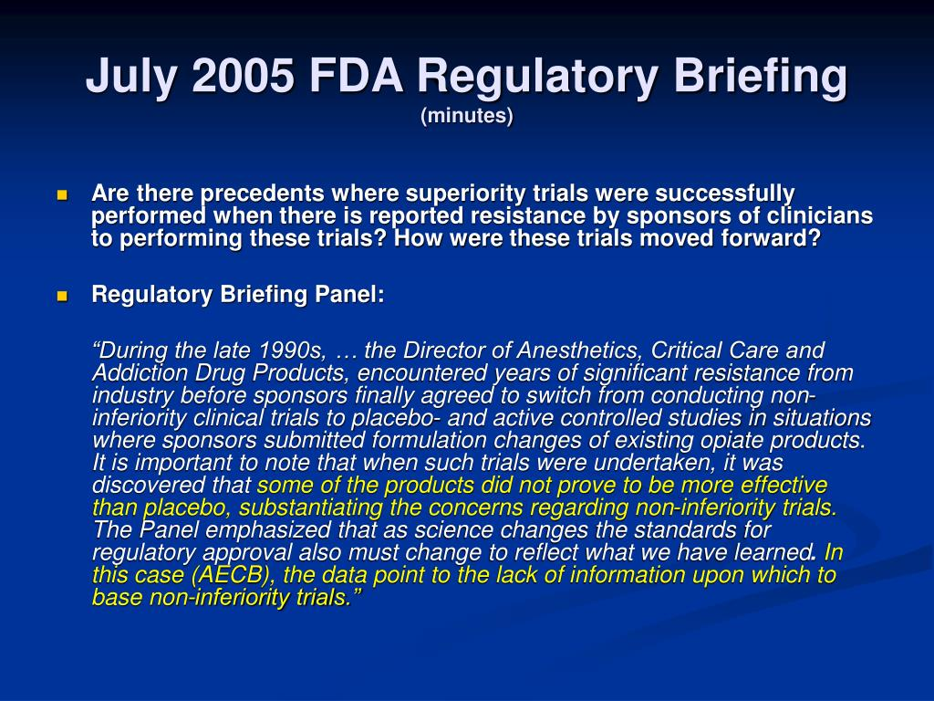 July 2005 FDA Regulatory Briefing