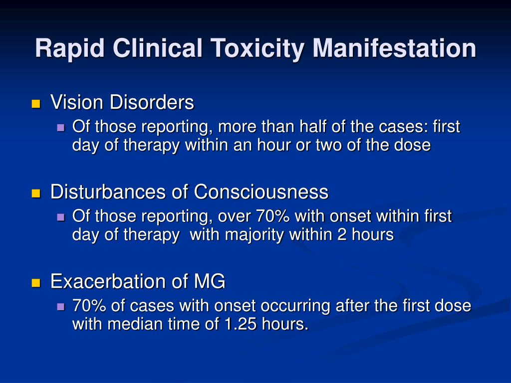 Rapid Clinical Toxicity Manifestation