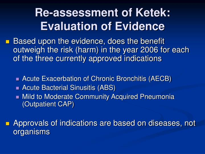 Re assessment of ketek evaluation of evidence