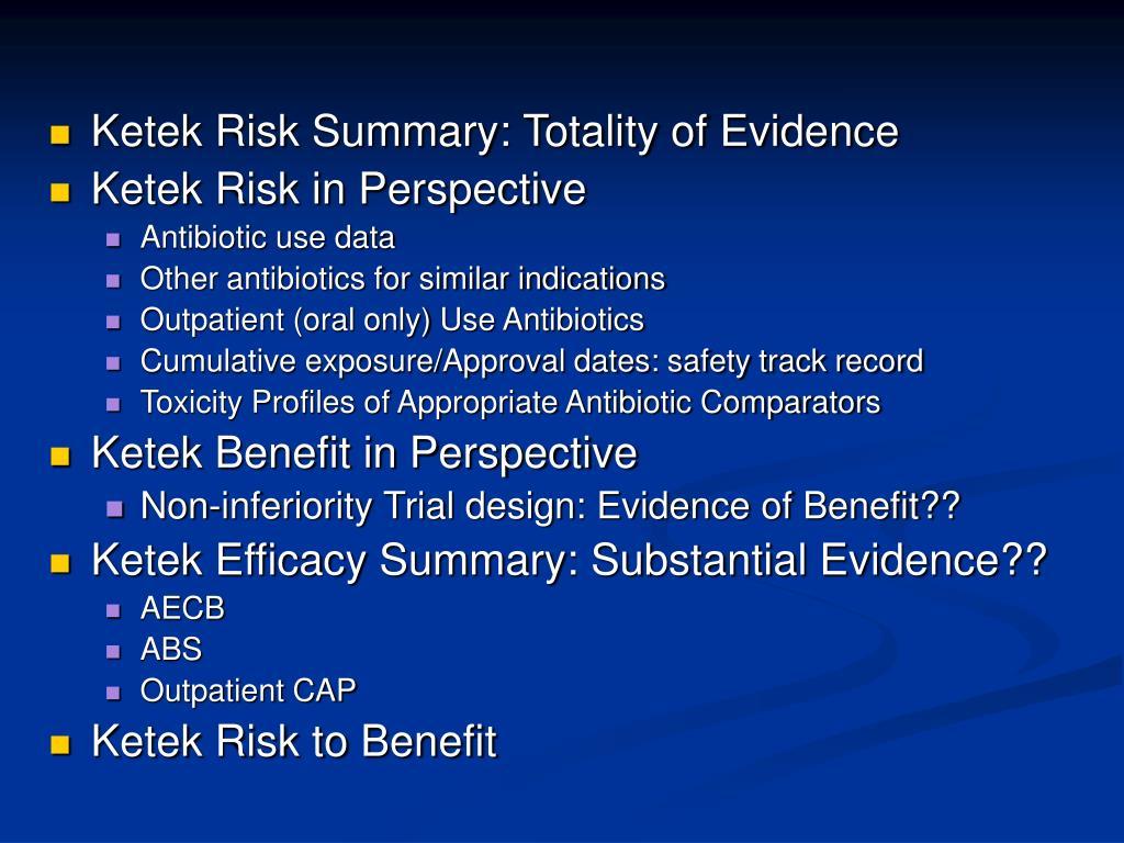 Ketek Risk Summary: Totality of Evidence