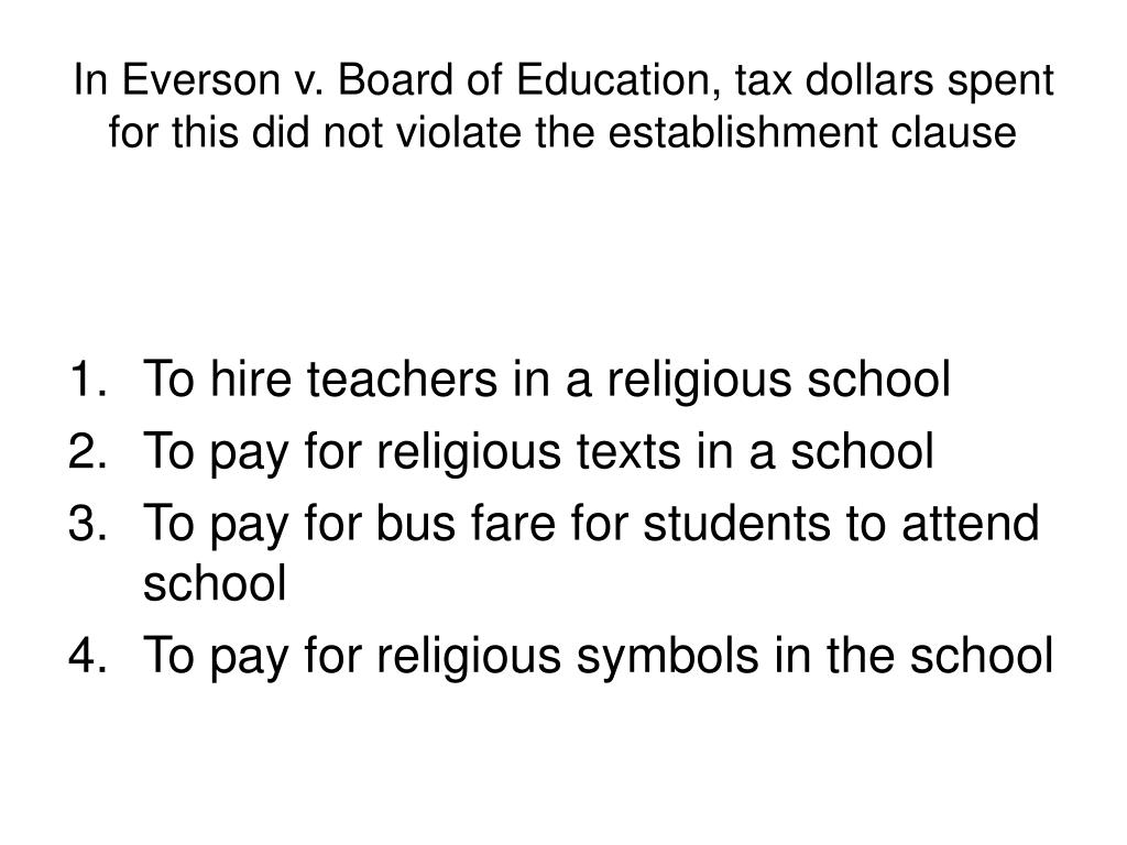 In Everson v. Board of Education, tax dollars spent for this did not violate the establishment clause