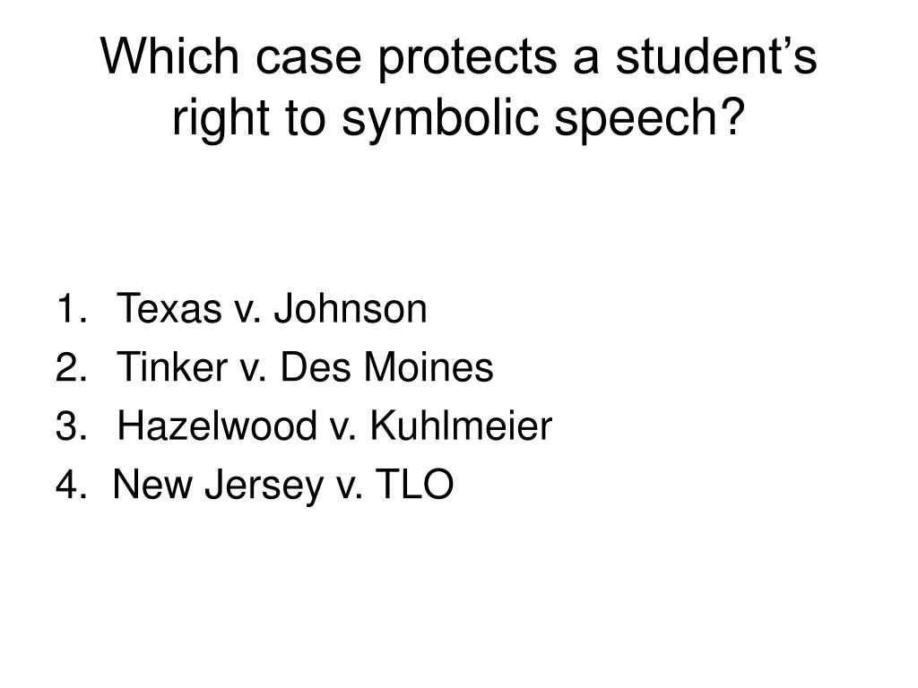 Which case protects a student's right to symbolic speech?