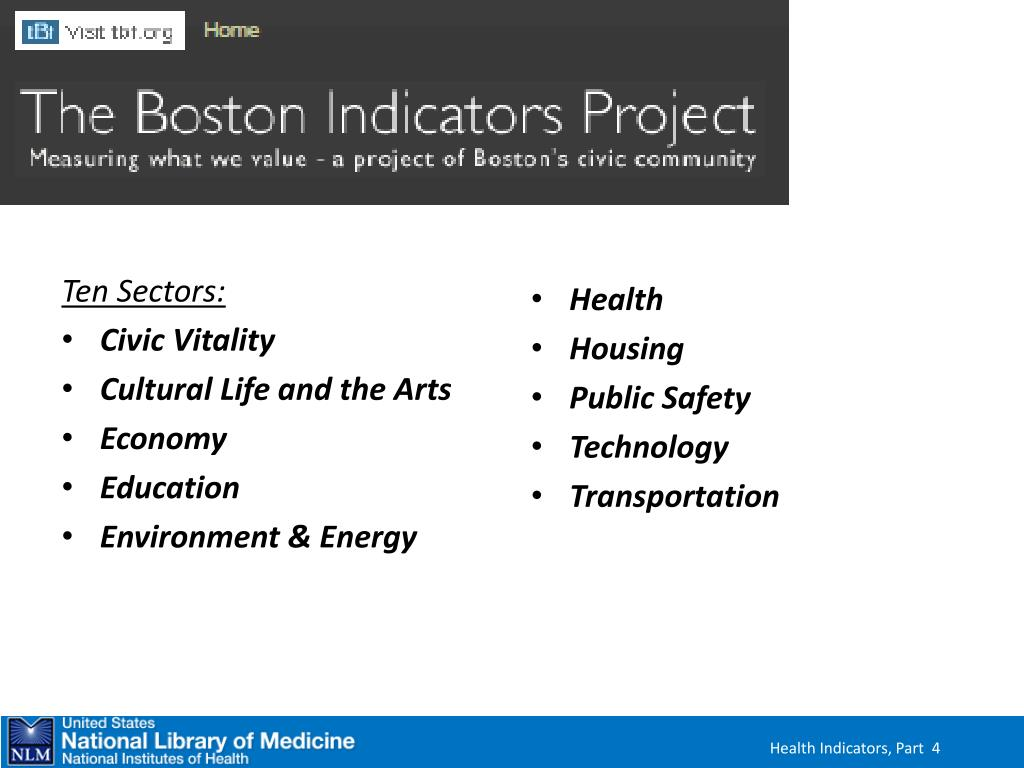 10 sectors comprising the Boston Indicators Project