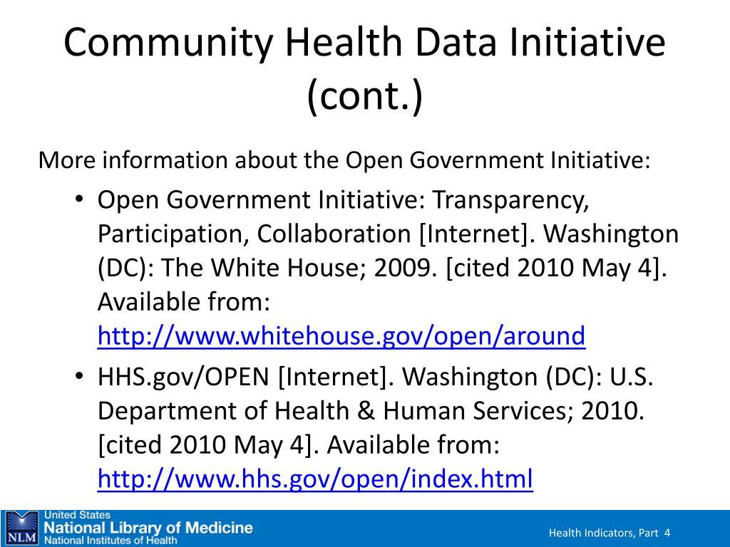 Community Health Data Initiative (cont.)