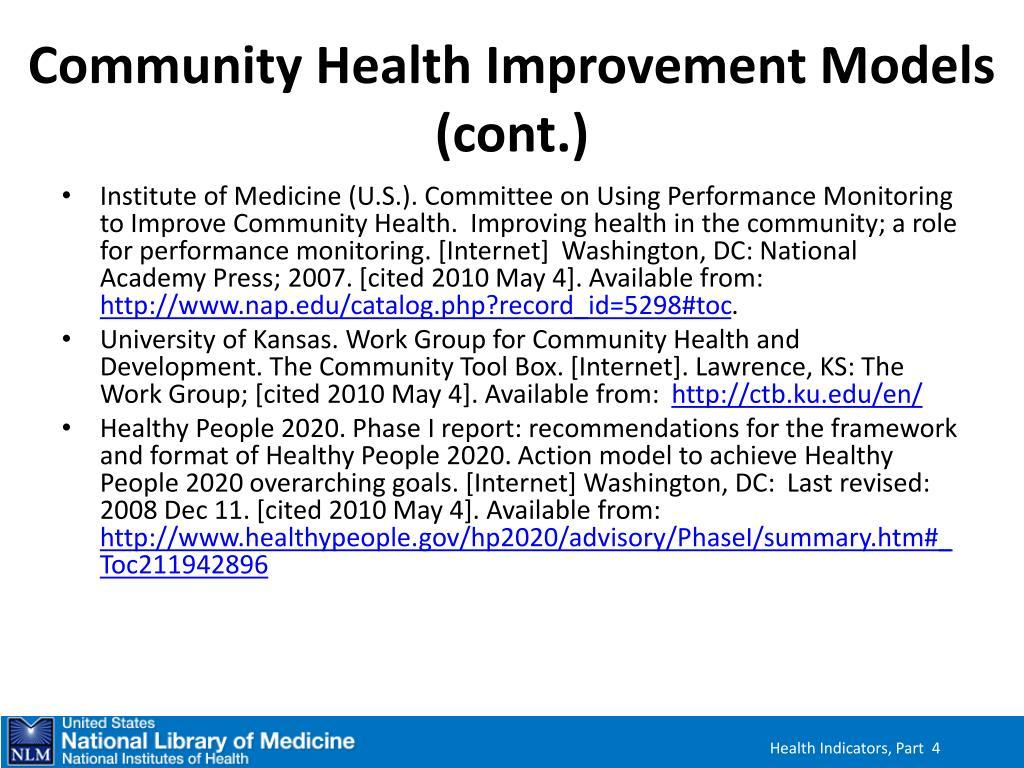 Community Health Improvement Models (cont.)