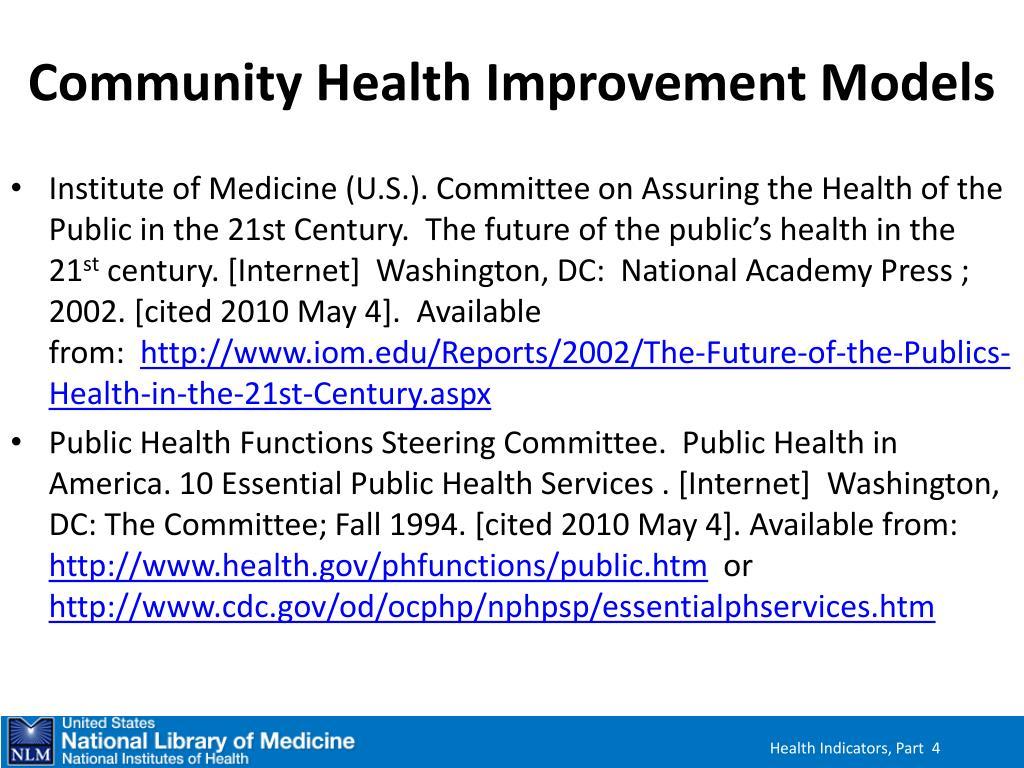 Community Health Improvement Models