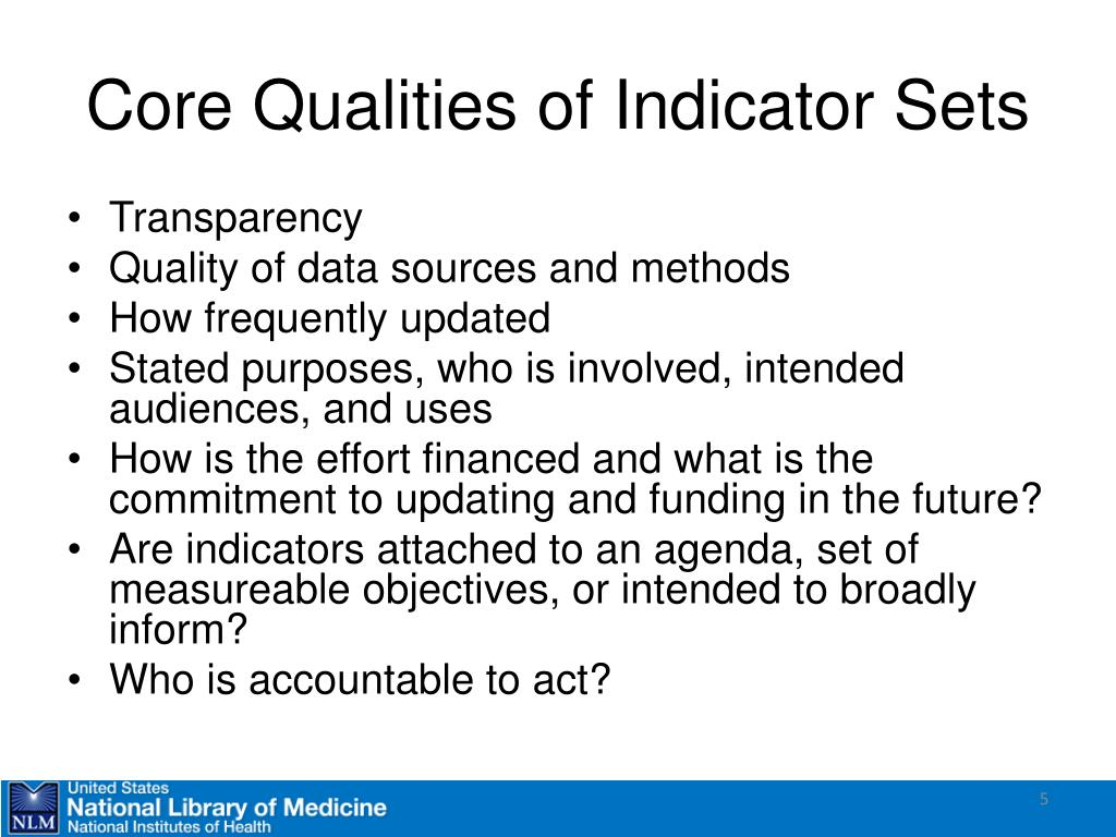 Core Qualities of Indicator Sets