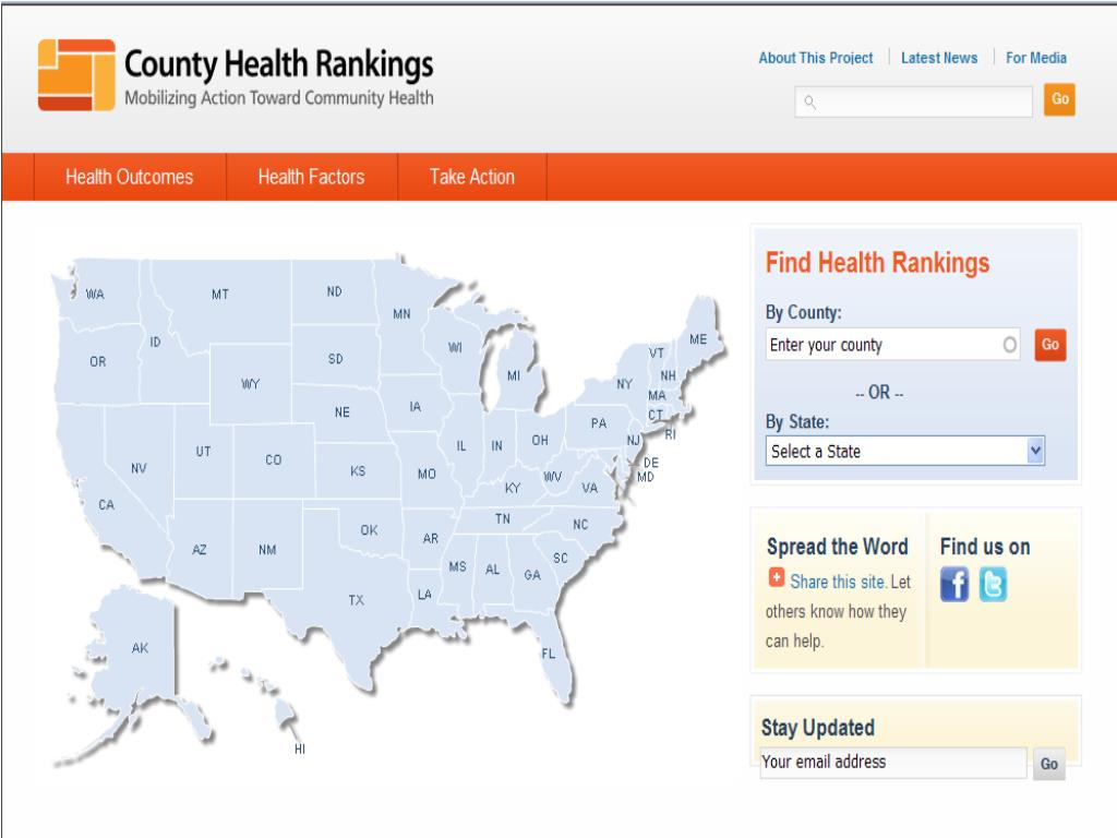 County Health Rankings Home Page with an interactive map of the U.S.