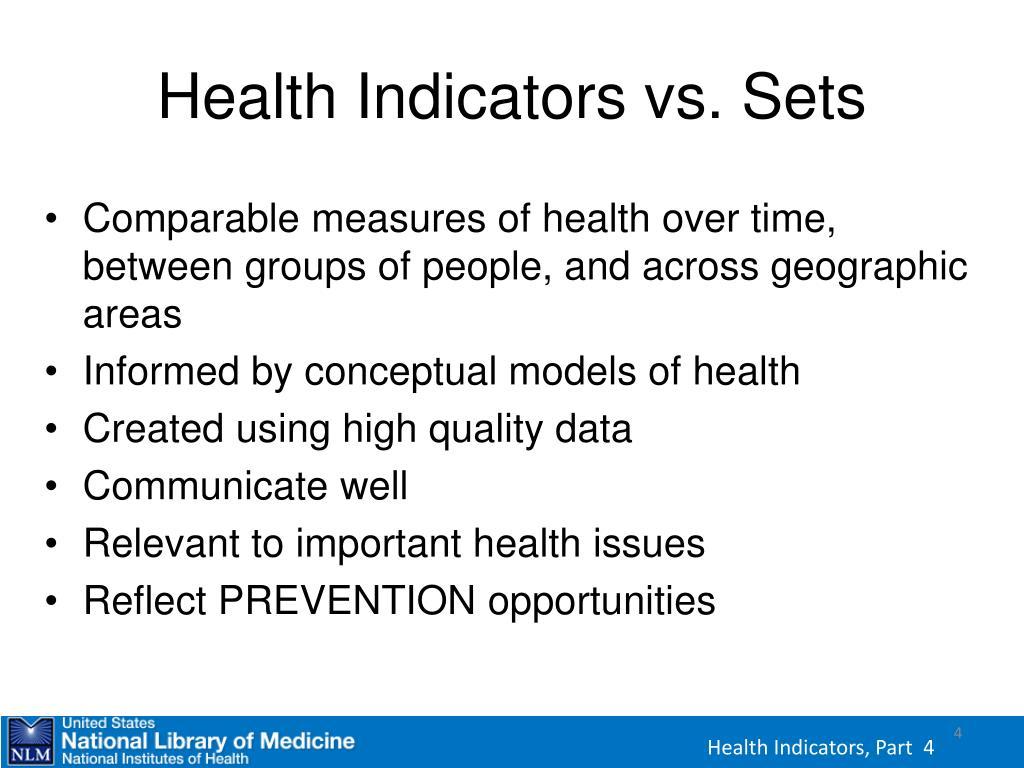 Health Indicators vs. Sets