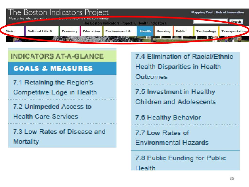 The Boston Indicators Project: 8 Health Indicators