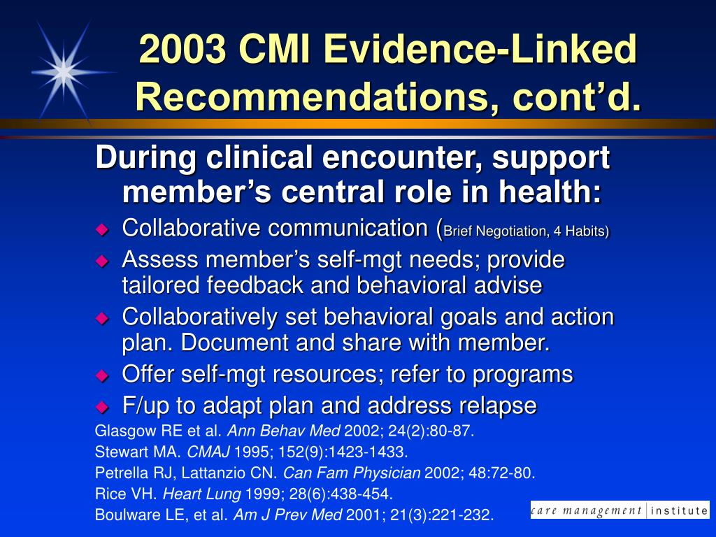 2003 CMI Evidence-Linked Recommendations, cont'd.