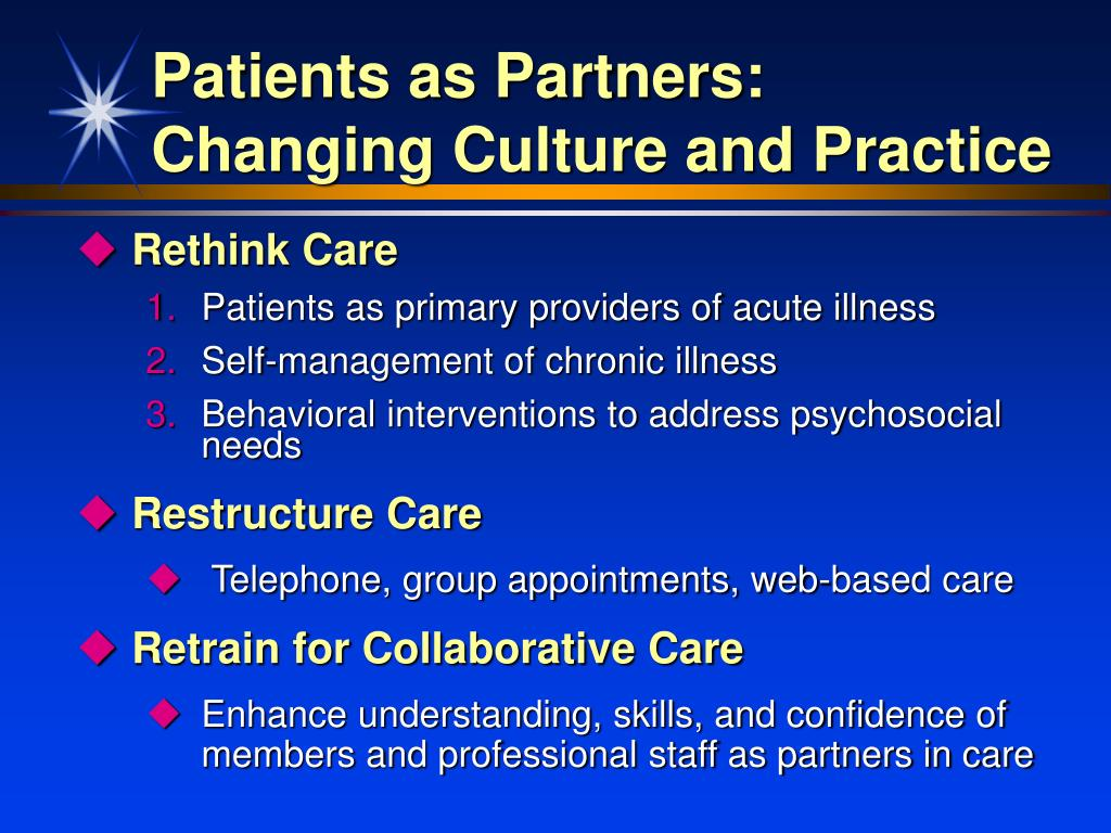 Patients as Partners: Changing Culture and Practice