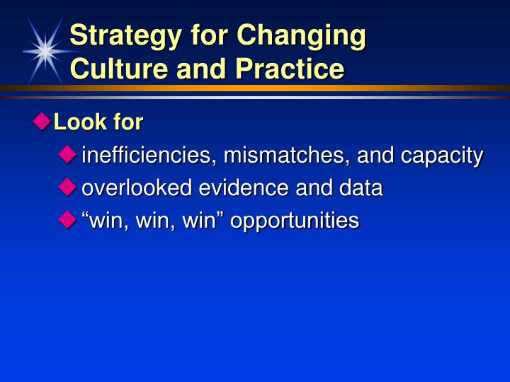 Strategy for changing culture and practice