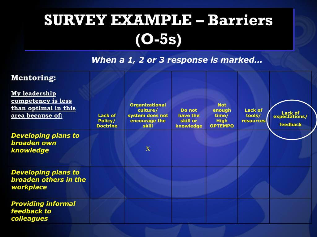 SURVEY EXAMPLE – Barriers