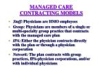 managed care contracting models
