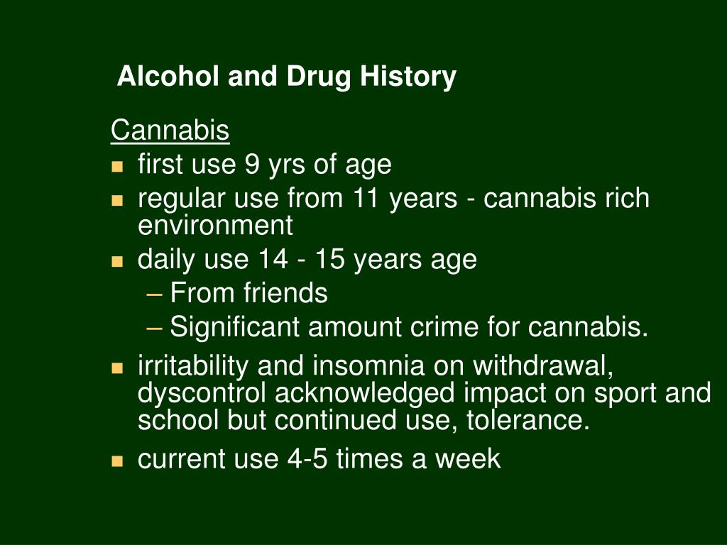 Alcohol and Drug History