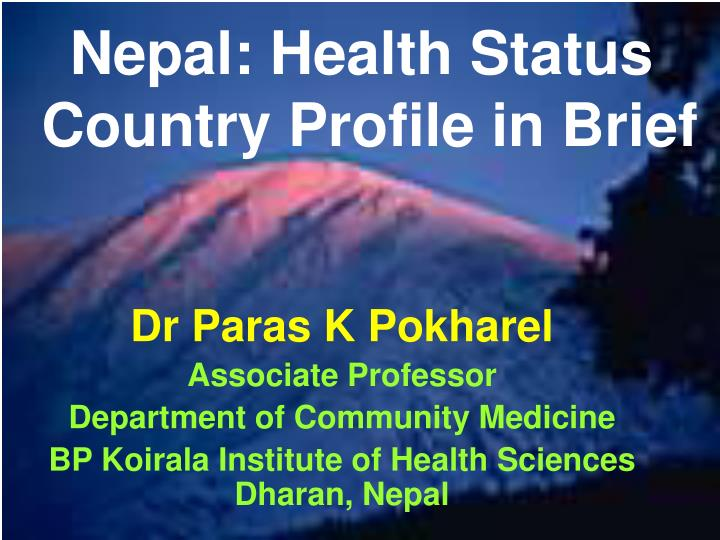 Nepal health status country profile in brief