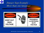 danger sign example more than one language