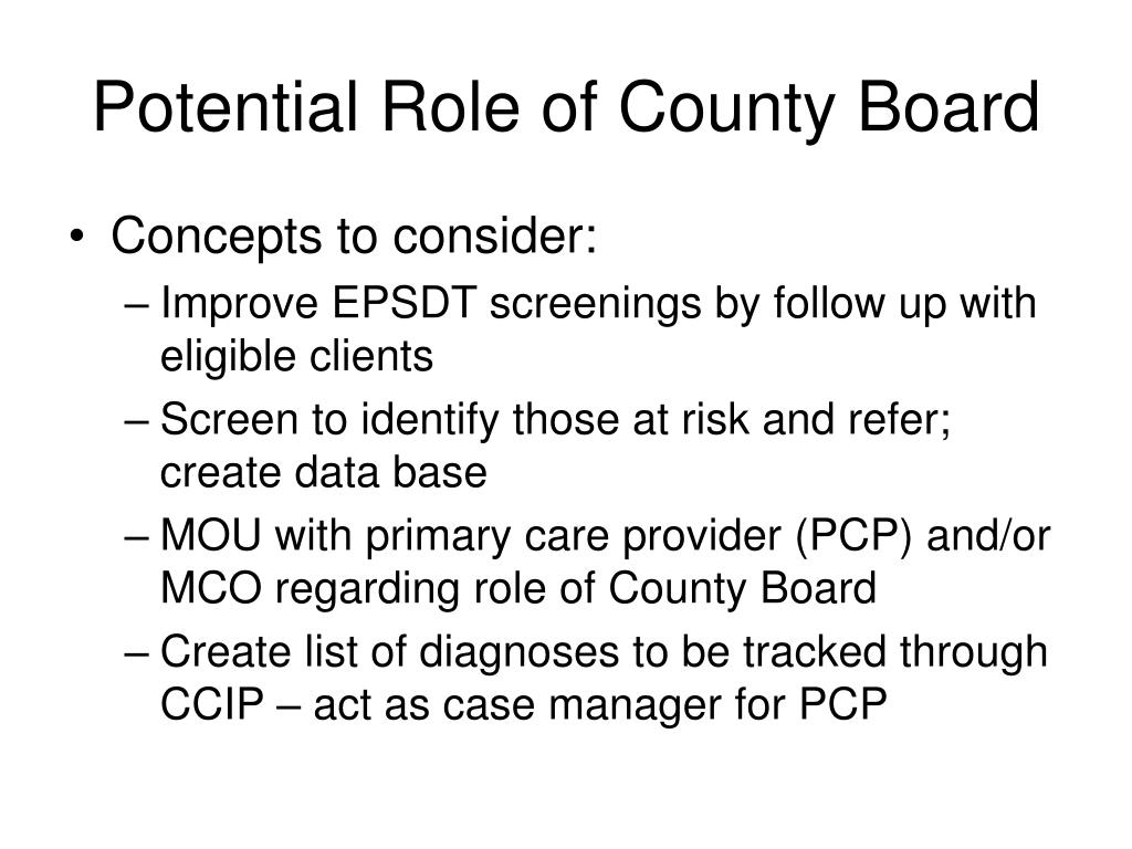 Potential Role of County Board
