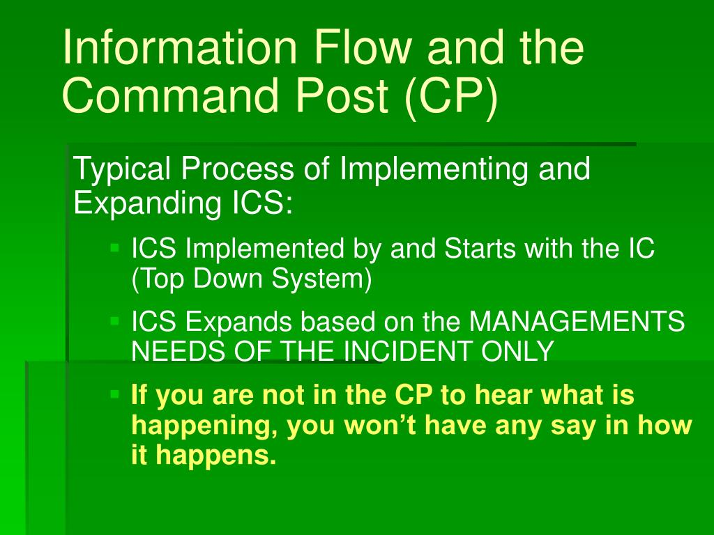 Information Flow and the Command Post (CP)