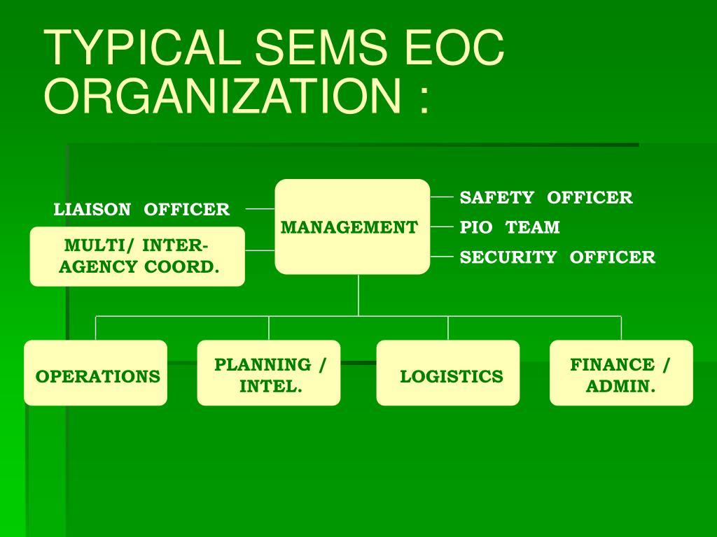 TYPICAL SEMS EOC ORGANIZATION :