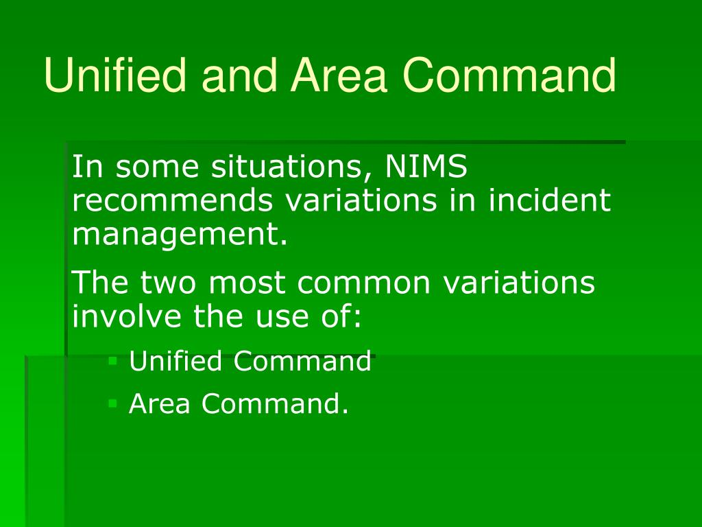 Unified and Area Command