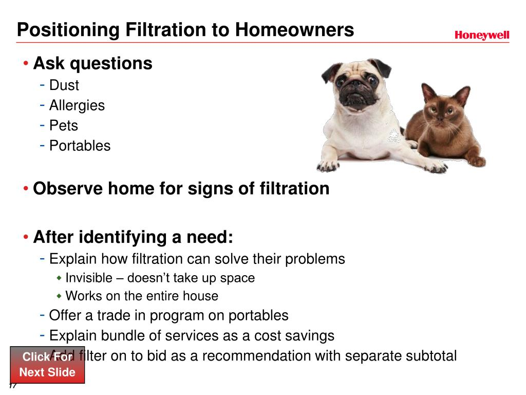 Positioning Filtration to Homeowners