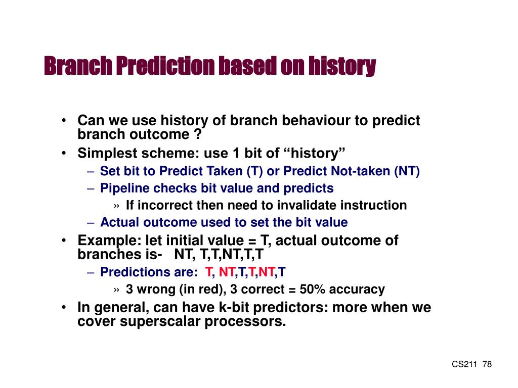 Branch Prediction based on history
