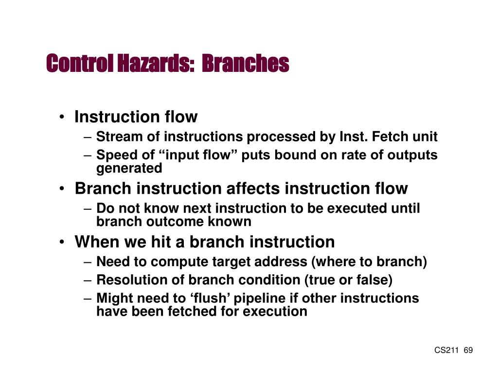 Control Hazards:  Branches