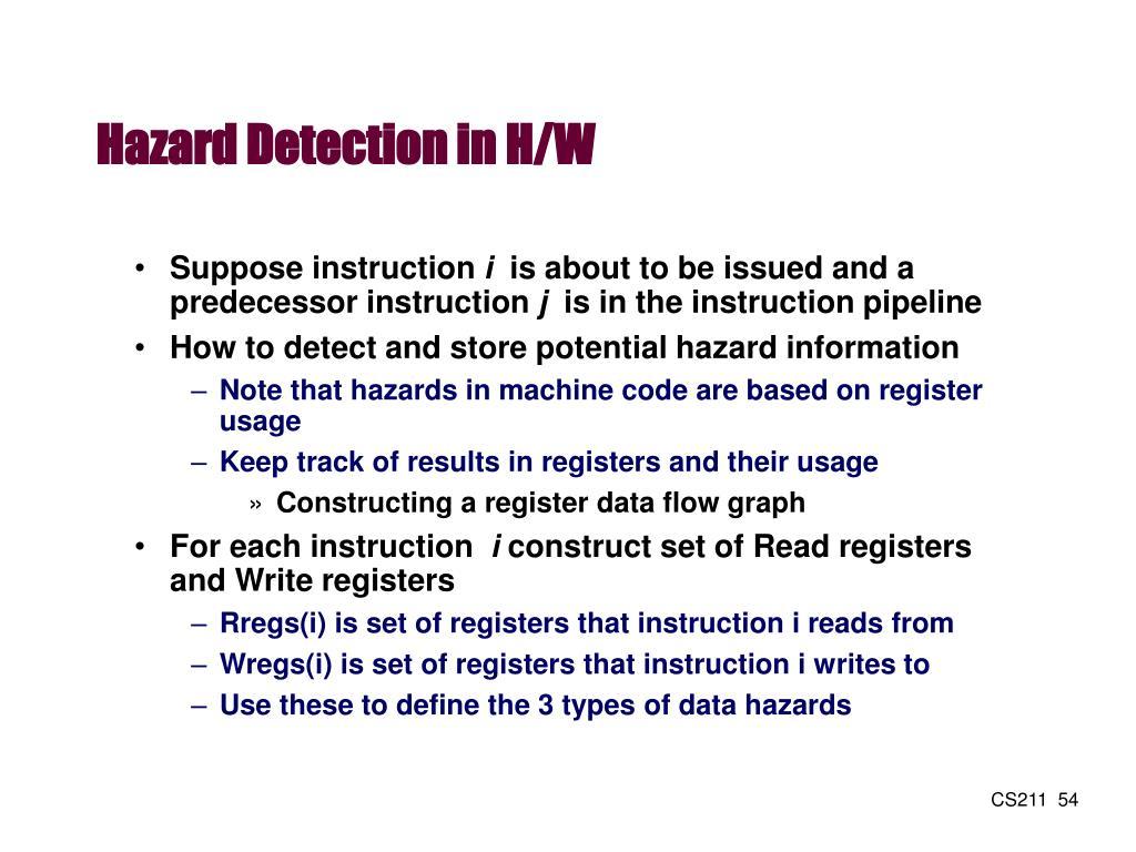 Hazard Detection in H/W