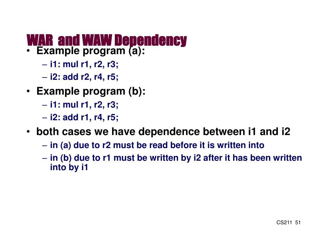 WAR  and WAW Dependency