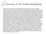 summary of the underfunded agenda