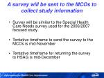 a survey will be sent to the mcos to collect study information