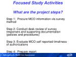 focused study activities what are the project steps