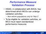performance measure validation process
