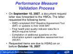 performance measure validation process35