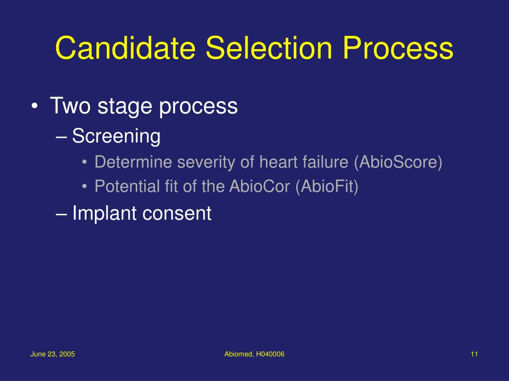 Candidate Selection Process