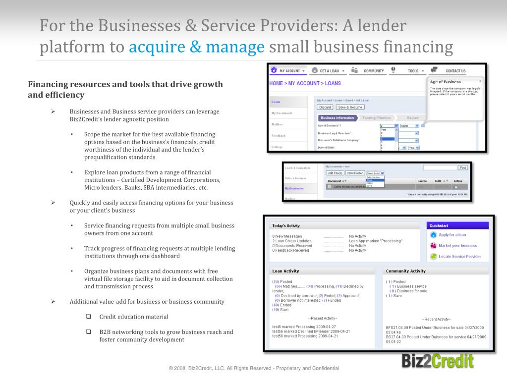 For the Businesses & Service Providers: A lender platform to