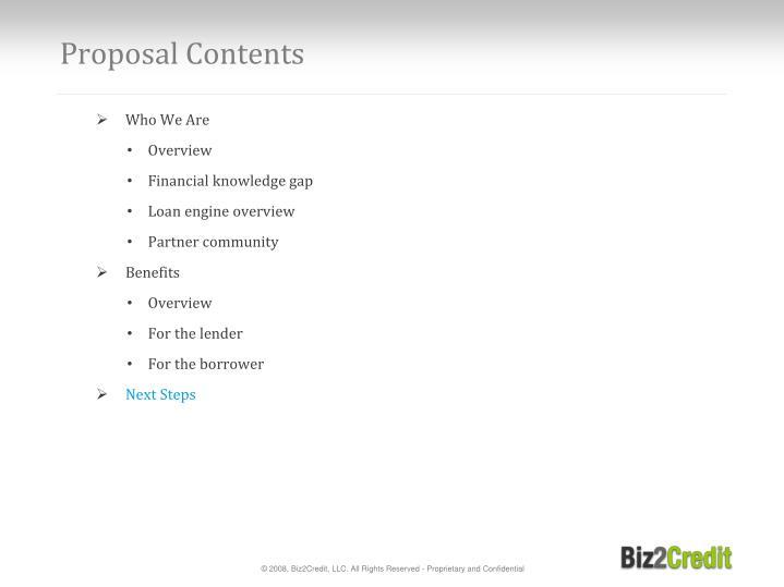 Proposal contents