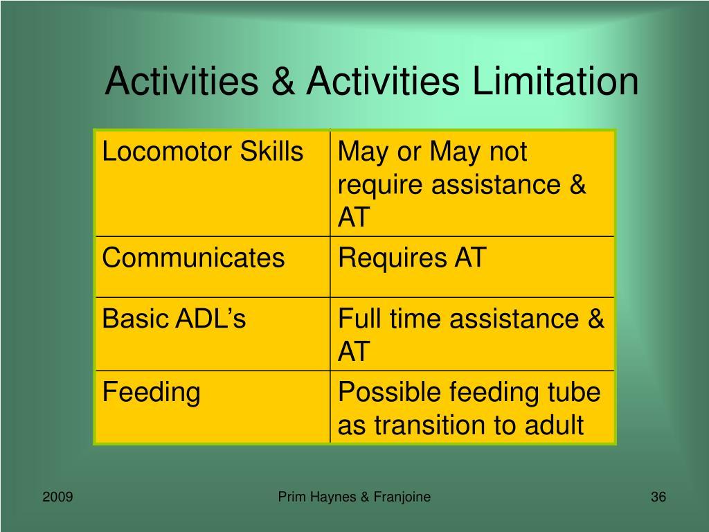 Activities & Activities Limitation
