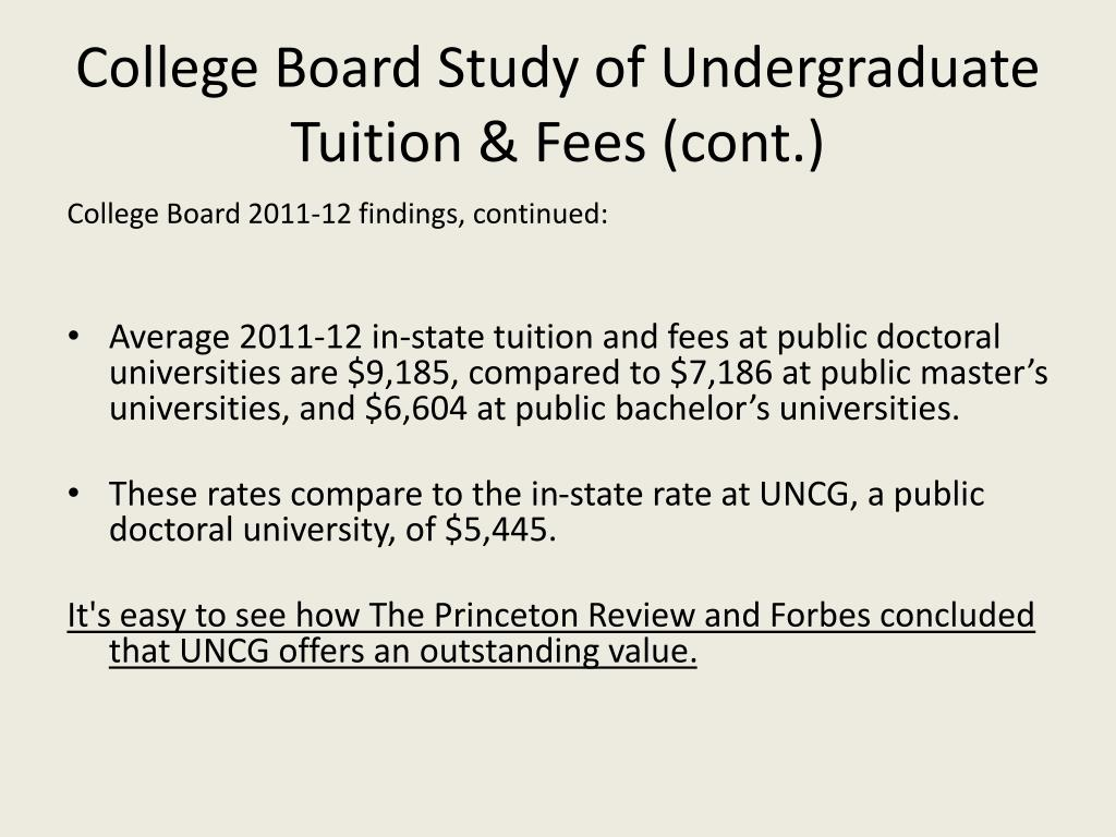 College Board Study of Undergraduate Tuition & Fees (cont.)