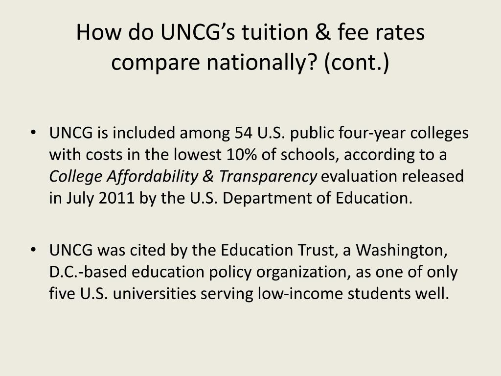 How do UNCG's tuition & fee rates compare nationally? (cont.)