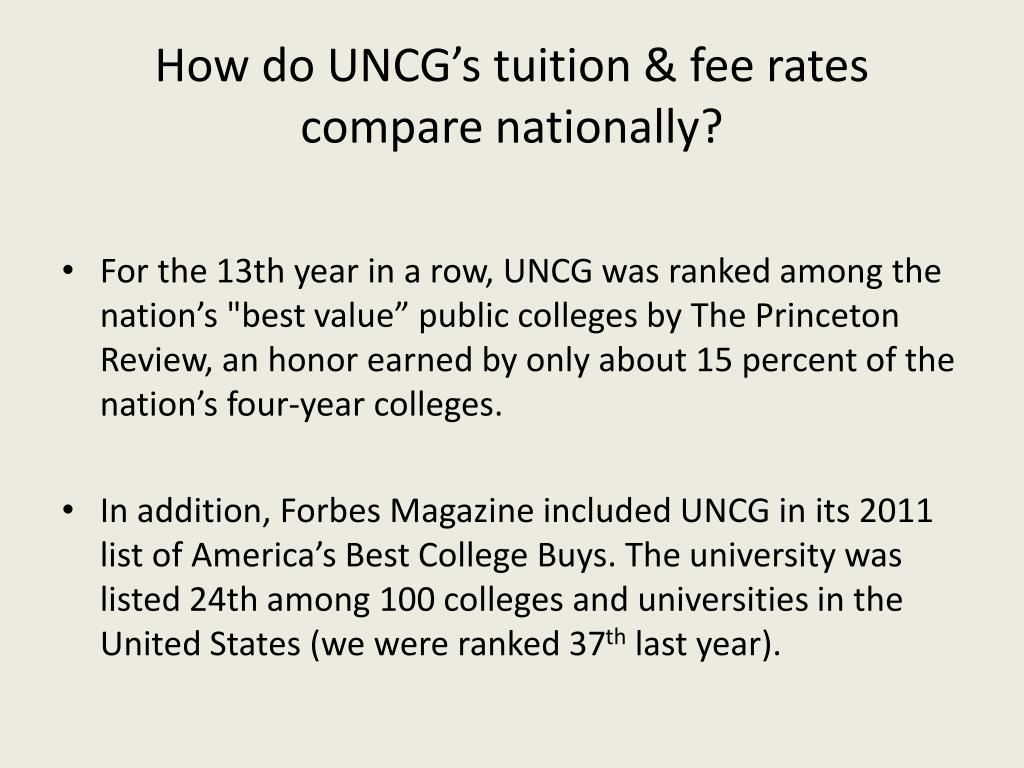 How do UNCG's tuition & fee rates compare nationally?