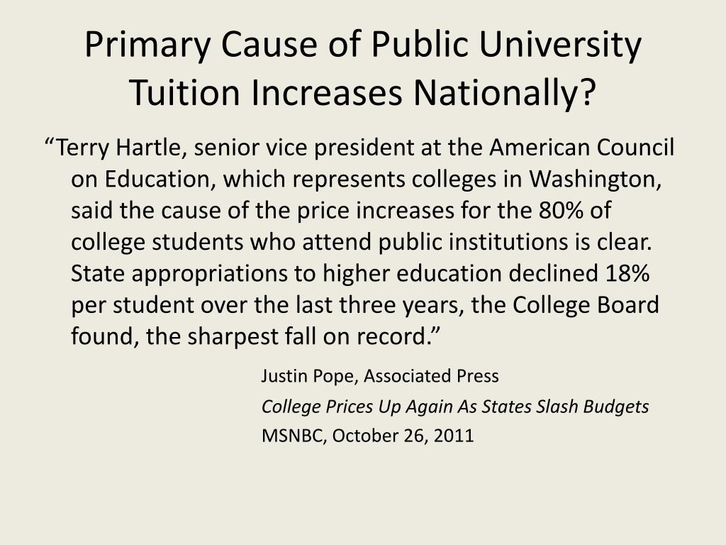 Primary Cause of Public University Tuition Increases Nationally?