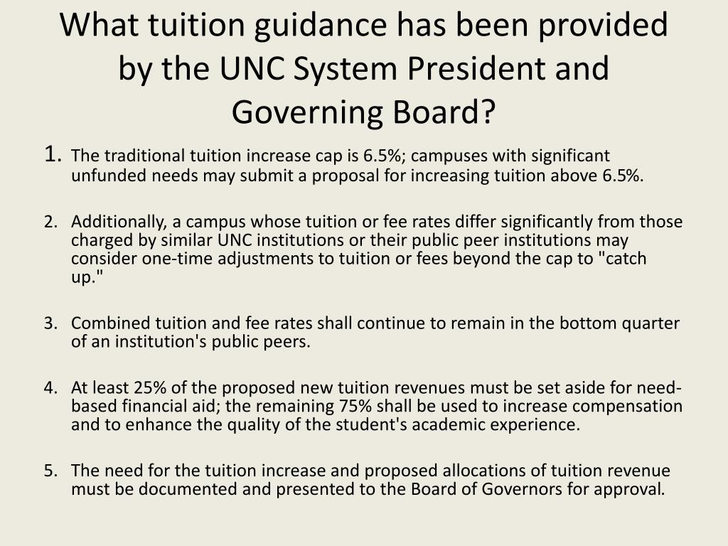 What tuition guidance has been provided by the UNC System President and Governing Board?