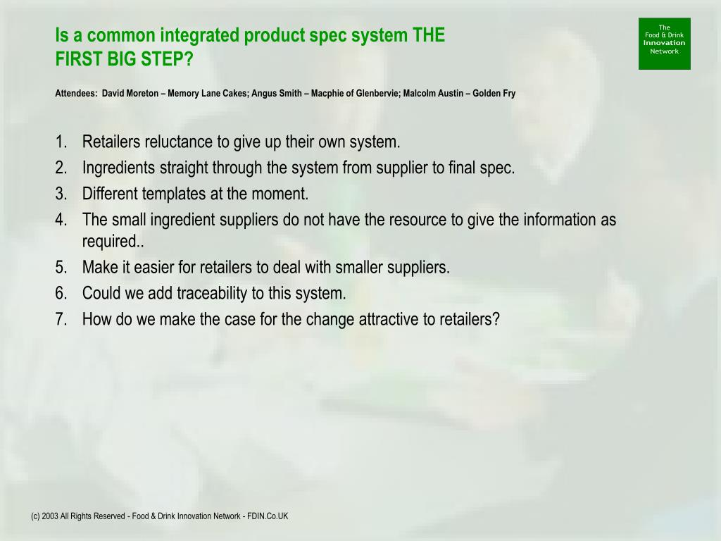 Is a common integrated product spec system THE FIRST BIG STEP?