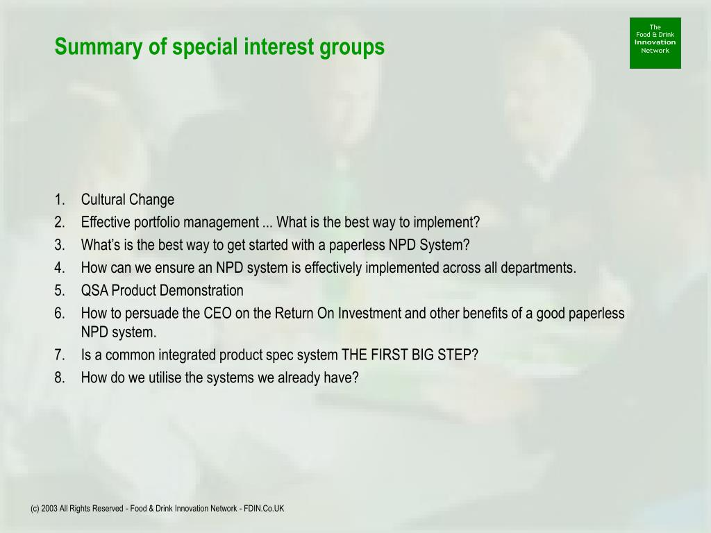 Summary of special interest groups