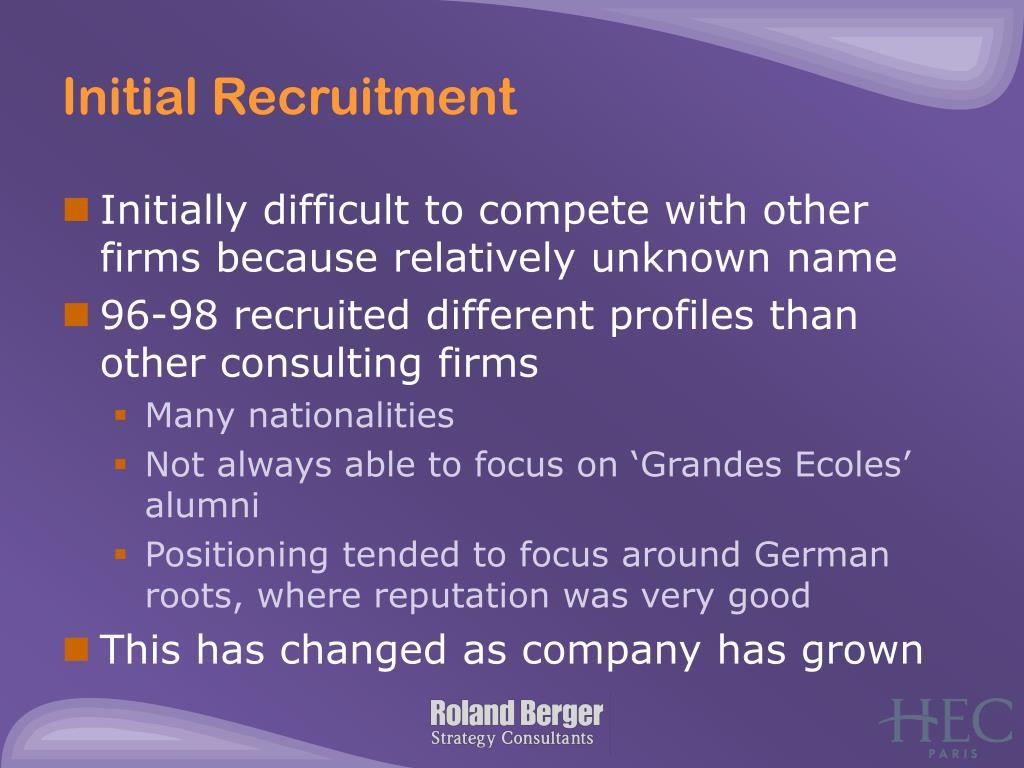 Initial Recruitment