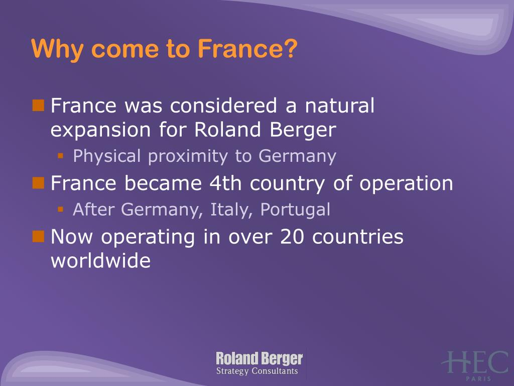 Why come to France?