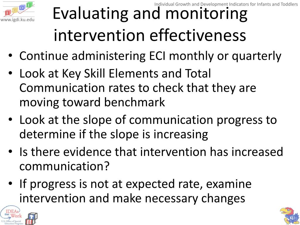 Evaluating and monitoring intervention effectiveness